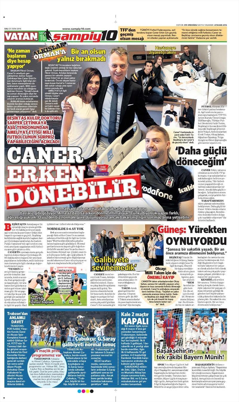 25 Ekim 2016 | Gazetelerin Beşiktaş sayfaları 2