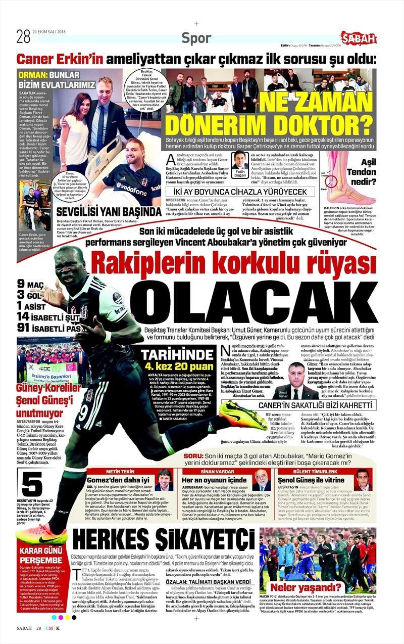 25 Ekim 2016 | Gazetelerin Beşiktaş sayfaları 3