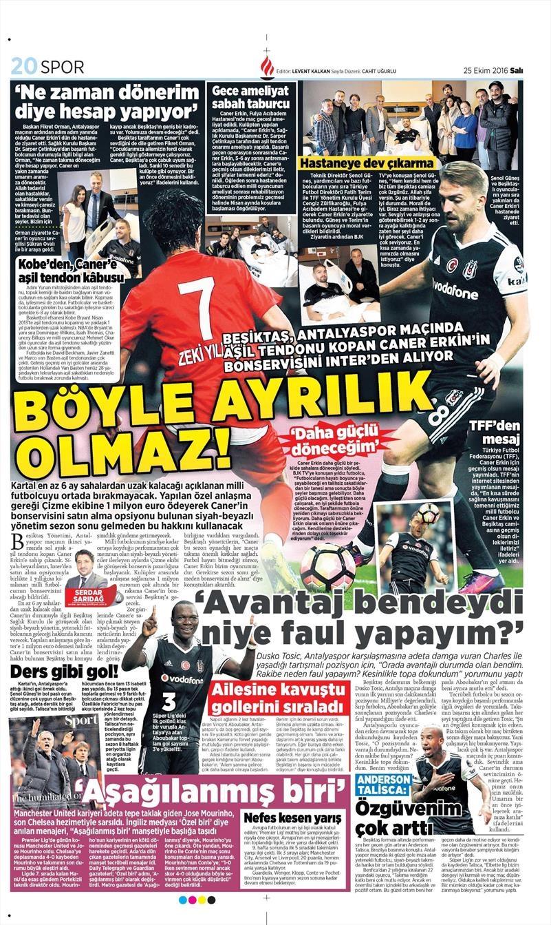 25 Ekim 2016 | Gazetelerin Beşiktaş sayfaları 4