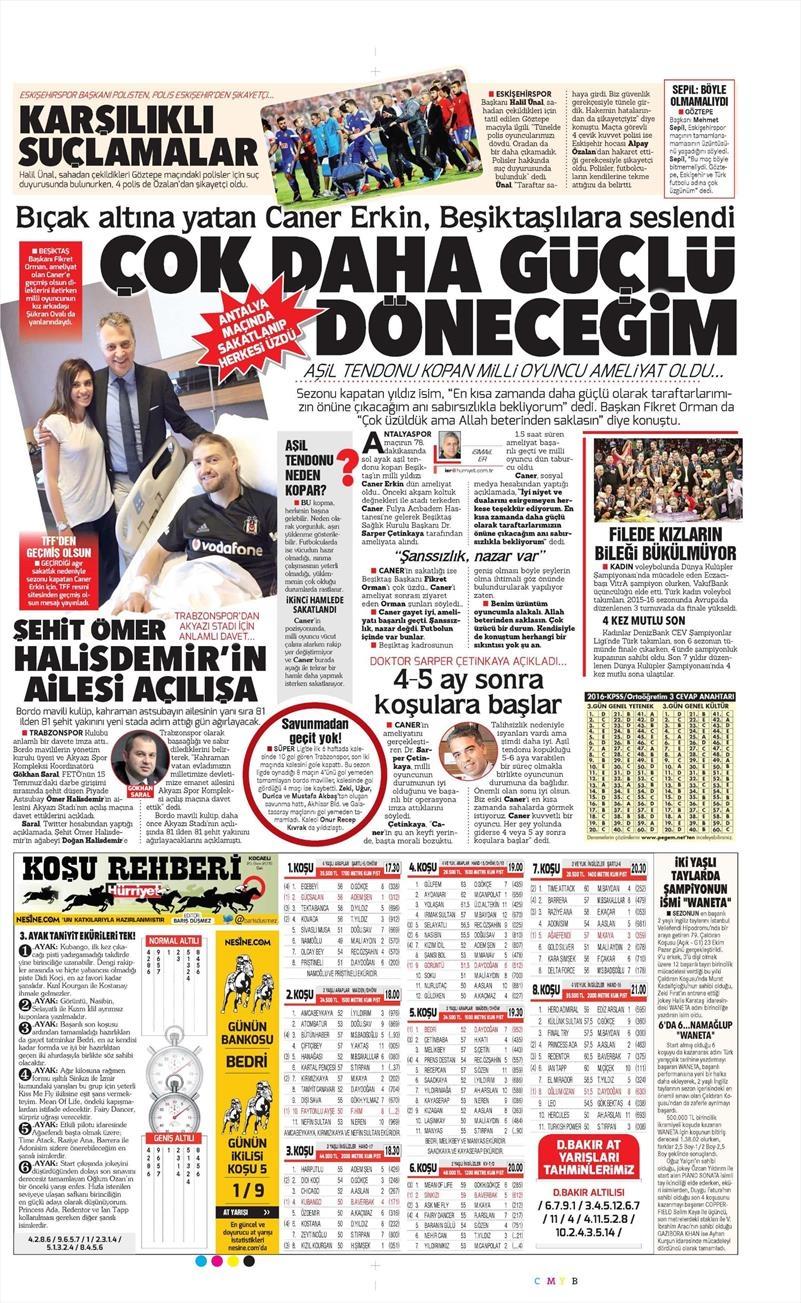 25 Ekim 2016 | Gazetelerin Beşiktaş sayfaları 5