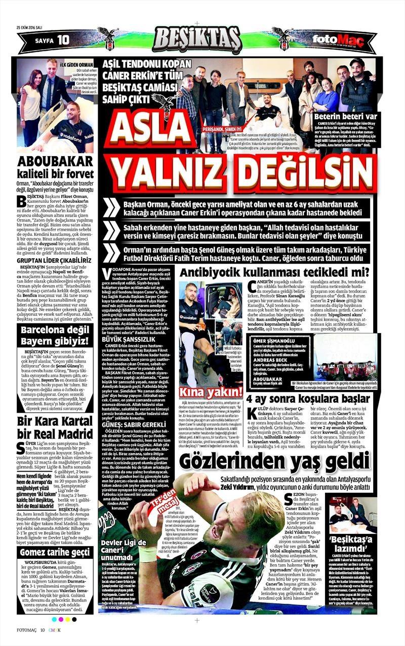 25 Ekim 2016   Gazetelerin Beşiktaş sayfaları 7