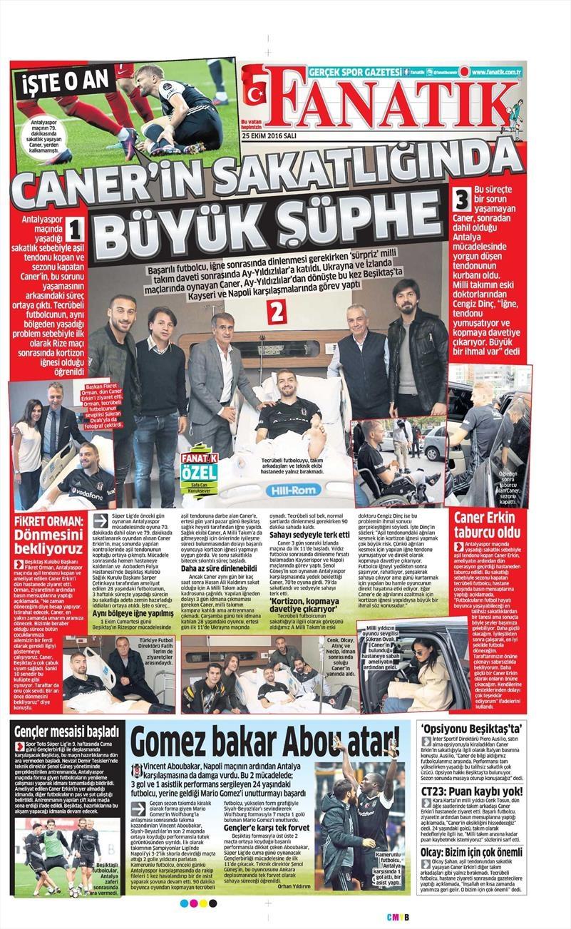 25 Ekim 2016 | Gazetelerin Beşiktaş sayfaları 8