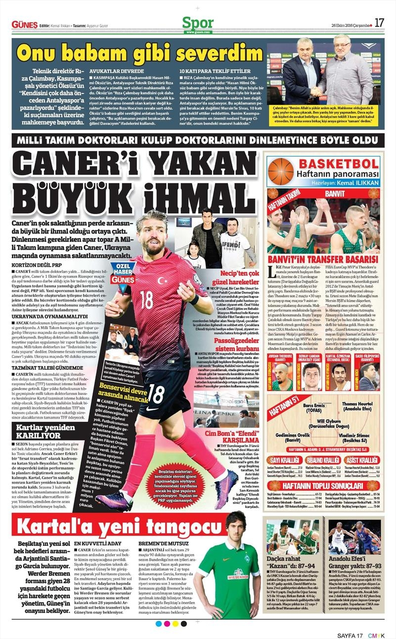 26 Ekim 2016 | Gazetelerin Beşiktaş manşetleri 10