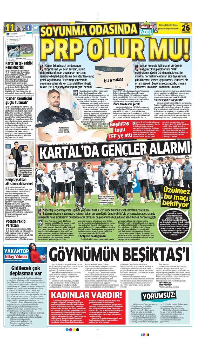 26 Ekim 2016   Gazetelerin Beşiktaş manşetleri 13
