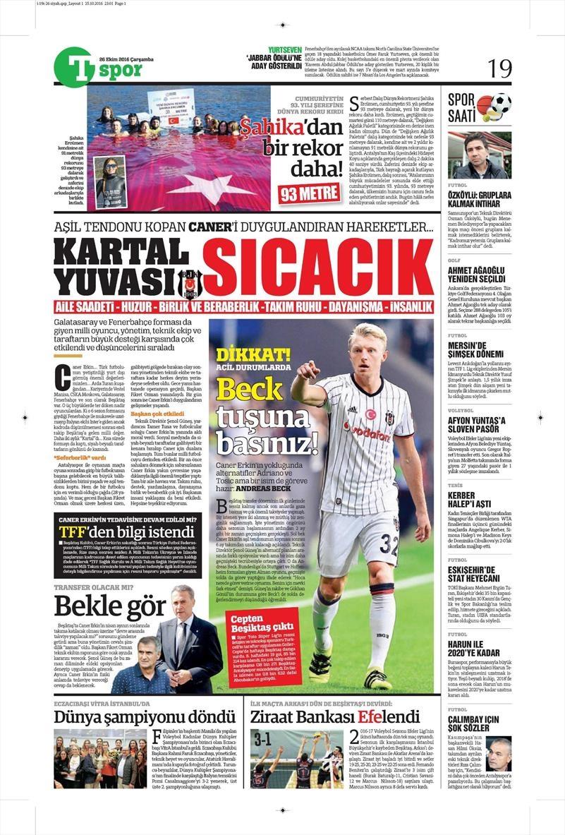 26 Ekim 2016 | Gazetelerin Beşiktaş manşetleri 2