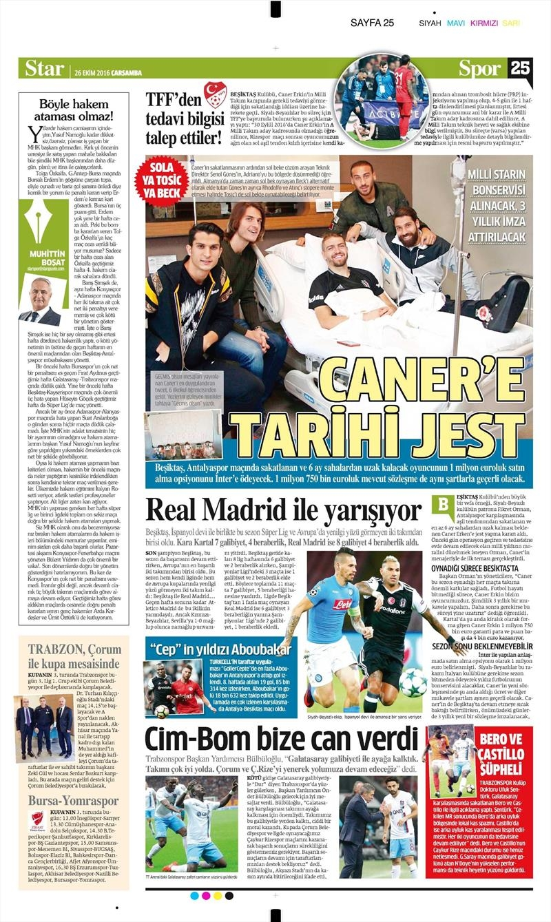 26 Ekim 2016 | Gazetelerin Beşiktaş manşetleri 4