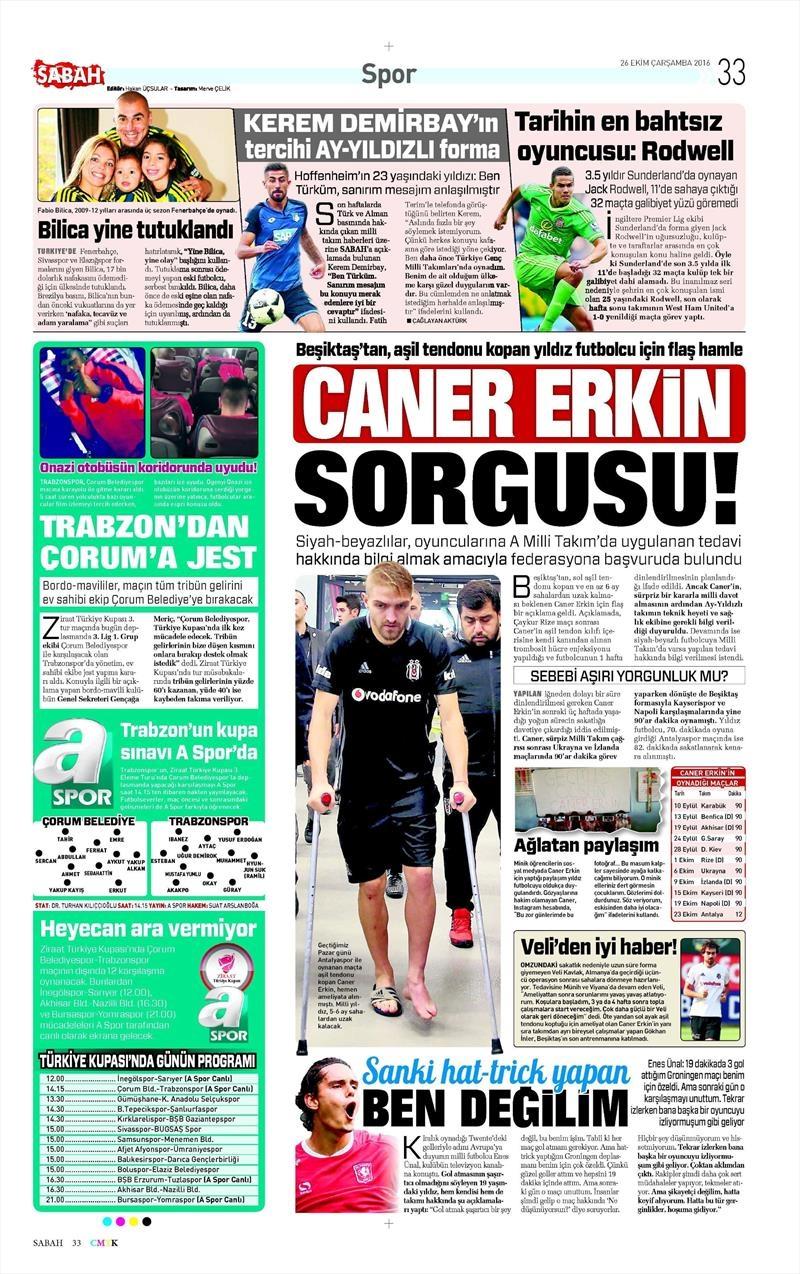 26 Ekim 2016   Gazetelerin Beşiktaş manşetleri 5