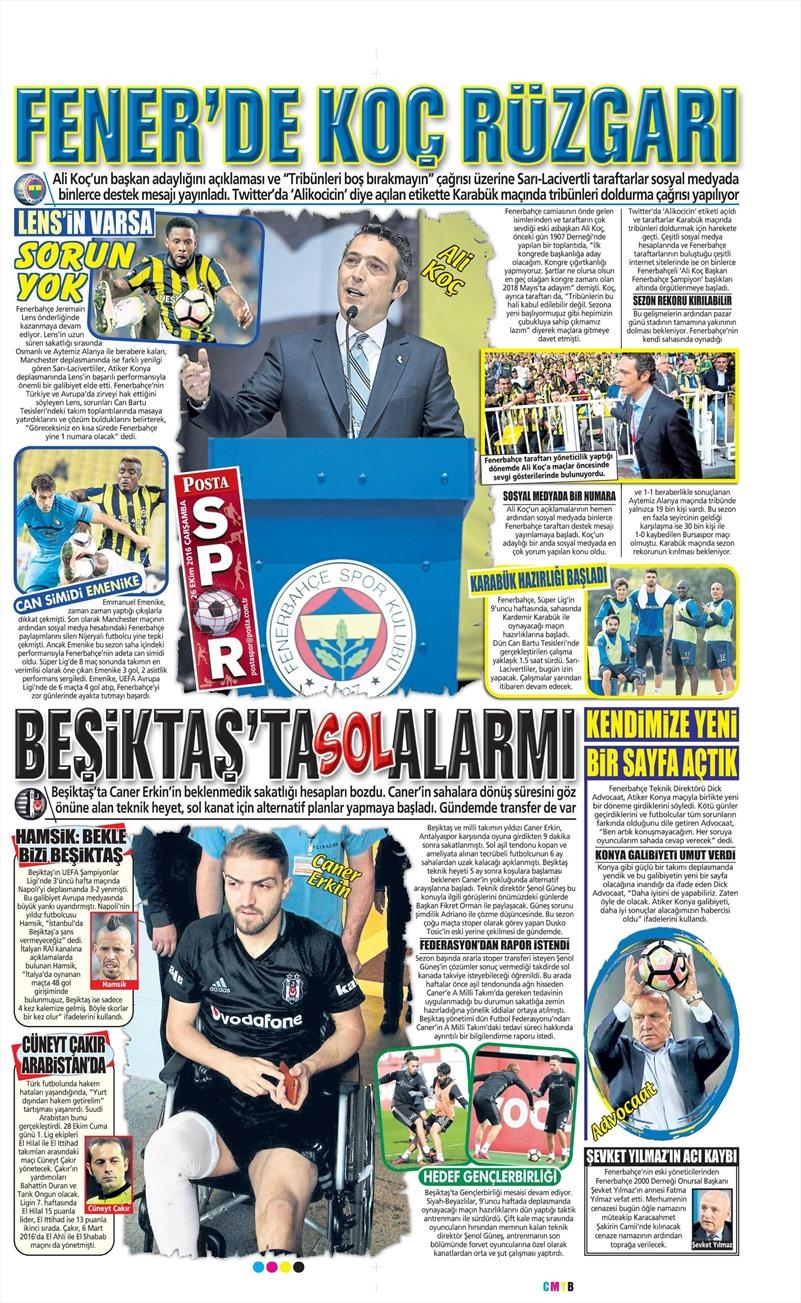 26 Ekim 2016   Gazetelerin Beşiktaş manşetleri 6