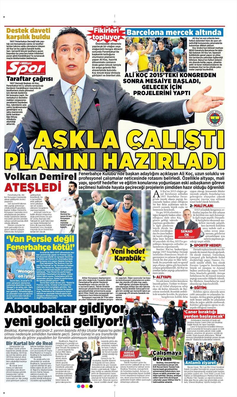 26 Ekim 2016 | Gazetelerin Beşiktaş manşetleri 7