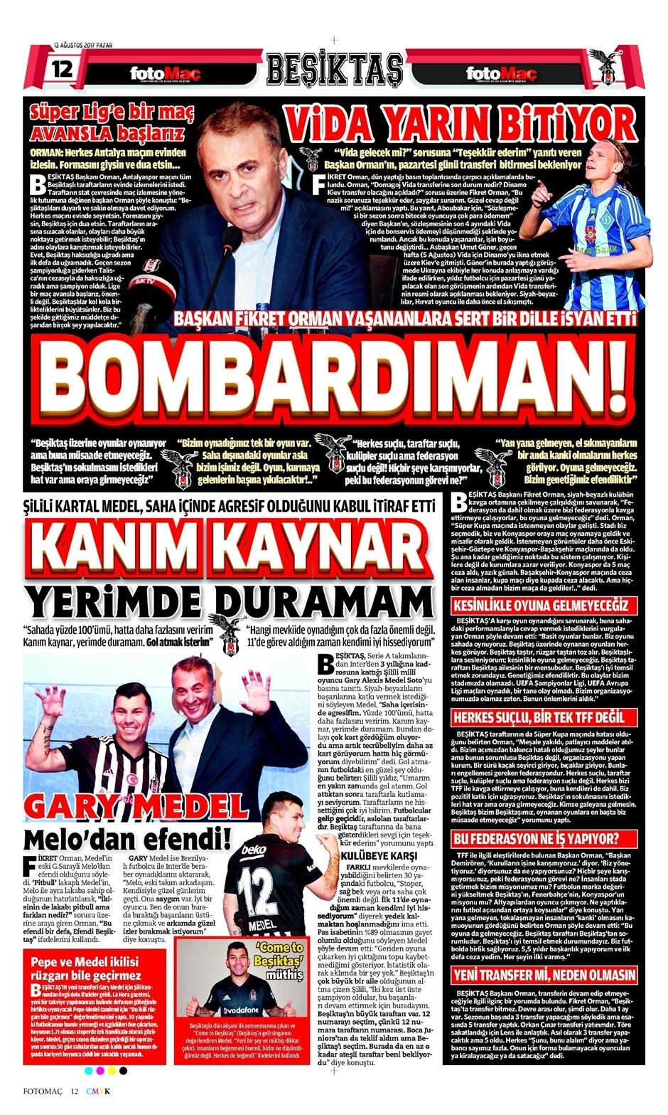 13 Ağustos 2017   İşte gazetelerin Beşiktaş manşetleri 1