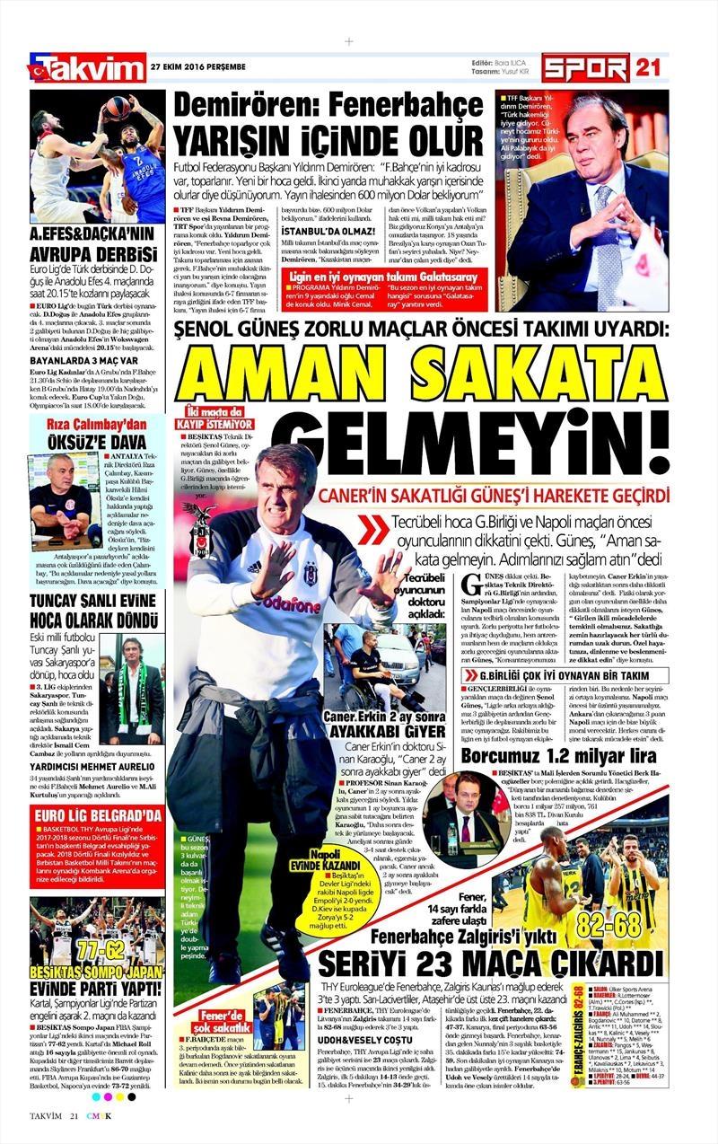 27 Ekim 2016 | Gazetelerin Beşiktaş manşetleri 1