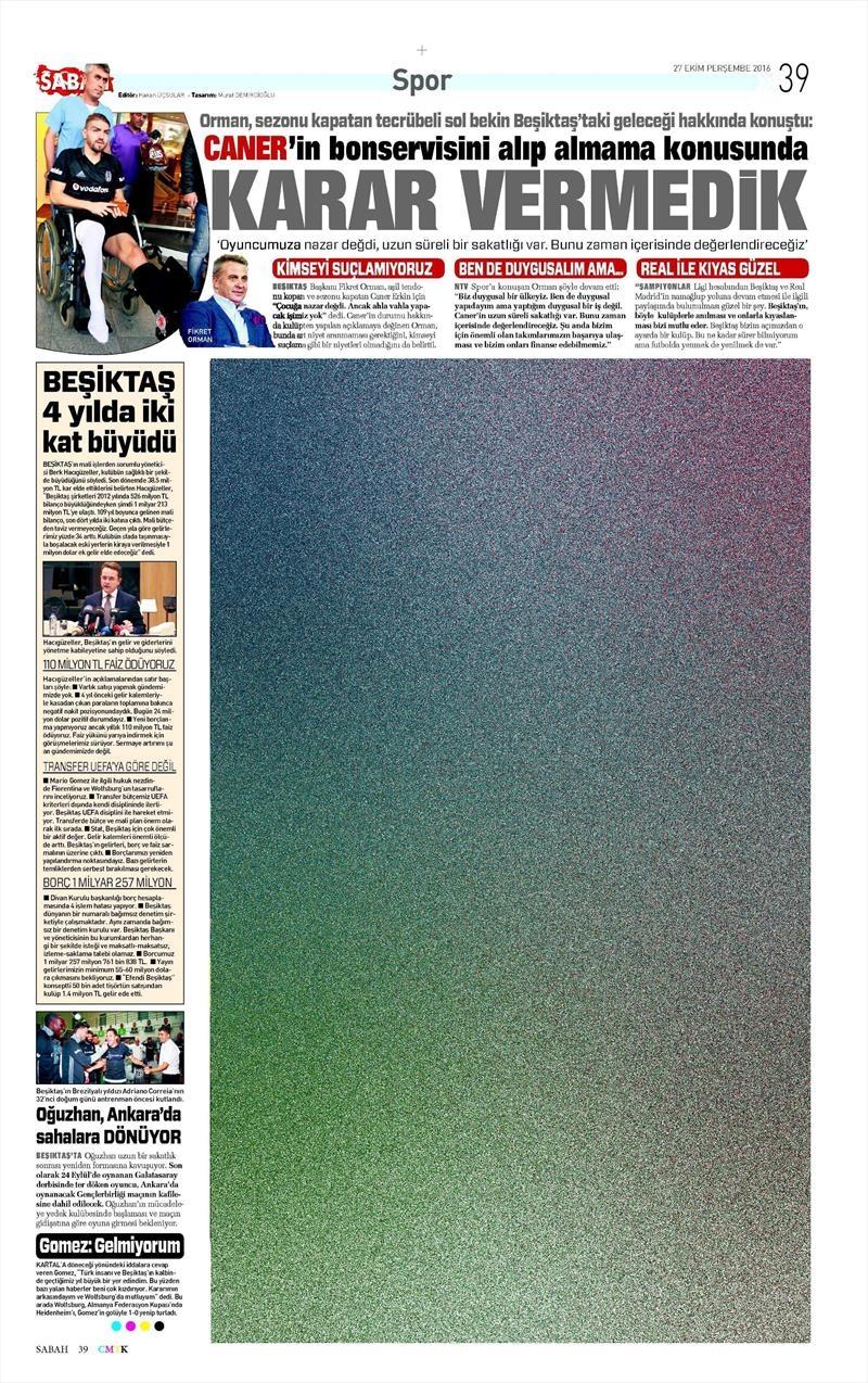 27 Ekim 2016 | Gazetelerin Beşiktaş manşetleri 2