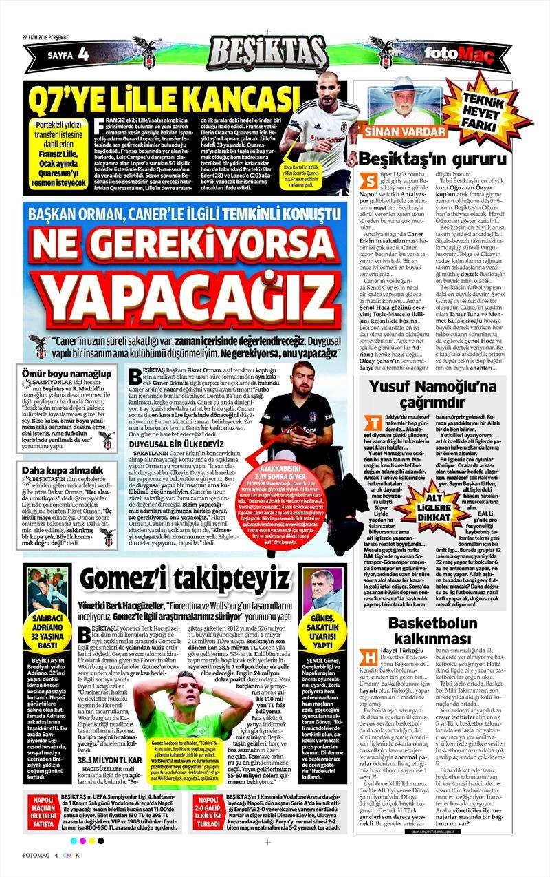 27 Ekim 2016 | Gazetelerin Beşiktaş manşetleri 6
