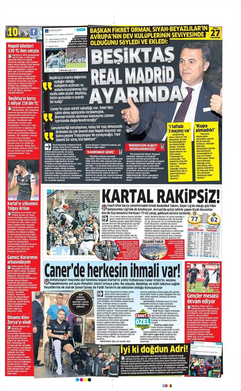 27 Ekim 2016   Gazetelerin Beşiktaş manşetleri 7