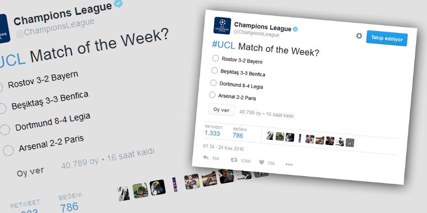 UEFA'dan haftanın maçı anketi