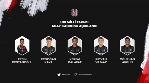 U18 Milli Takımı'na Beşiktaş'tan 5 kişi!