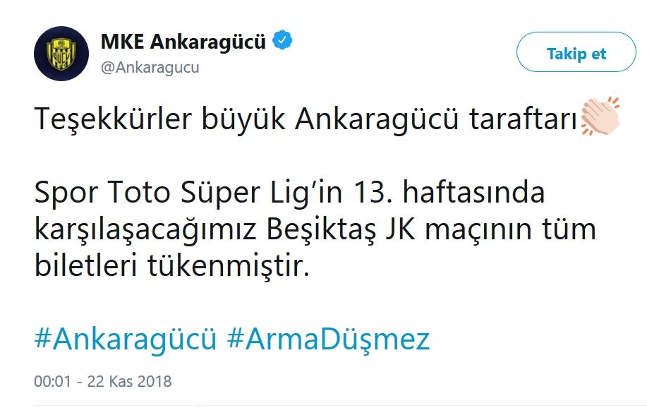 Ankaragücü'nden bilet açıklaması