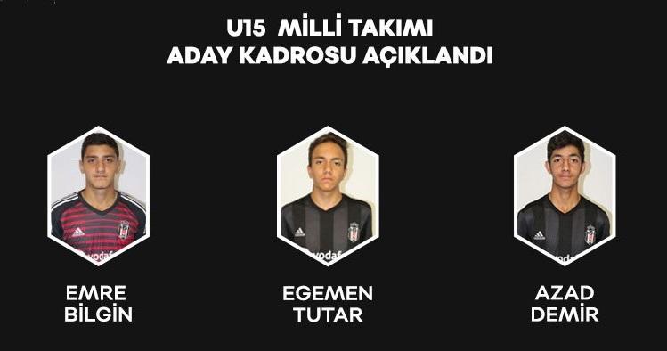 U15 Milli Takımı'na Beşiktaş'tan 3 isim!