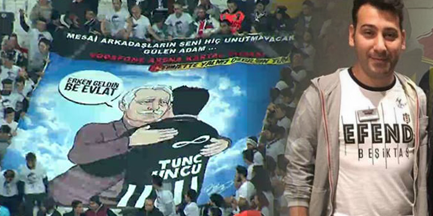 Kartal Yuvası çalışanlarından Tunç Uncu pankartı