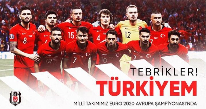 Beşiktaş'tan Milli Takım'a tebrik